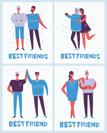 Cards with happy fashion people in flat style.