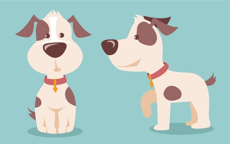 Vector illustration of cute and funny cartoon puppy