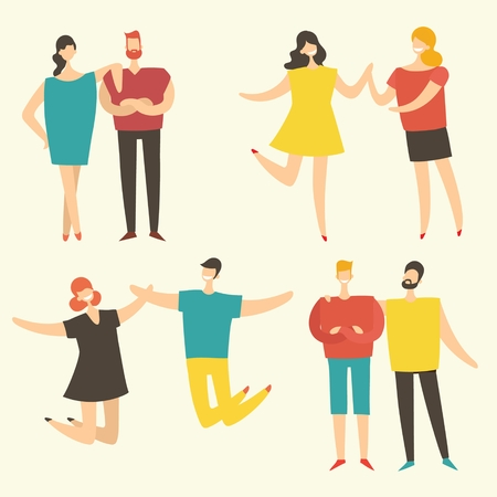 Vector illustration in a flat style of a group of happy people.