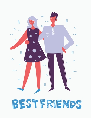 Card with a vector illustration of Best Frends in a flat cool style
