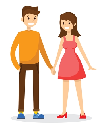 Happy couple - young family. Vector illustration of a flat design. Illustration