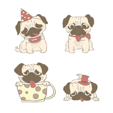 Vector illustration of cute and funny cartoon pug puppies