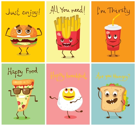 Cards with funny food characters vector illustrations- 向量圖像