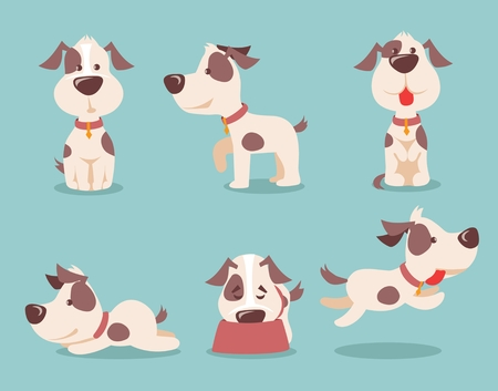 Vector illustration of cute and funny cartoon puppies.