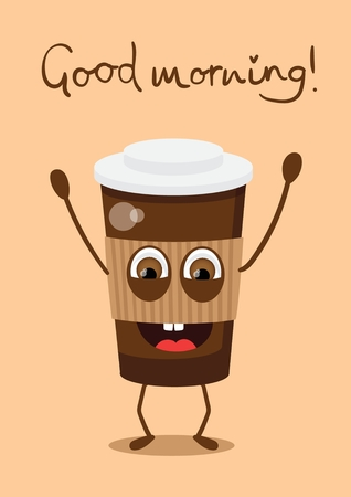 Vector illustration of cartoon coffee cup with happy face in flat style