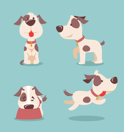 Vector illustration of cute and funny cartoon puppies