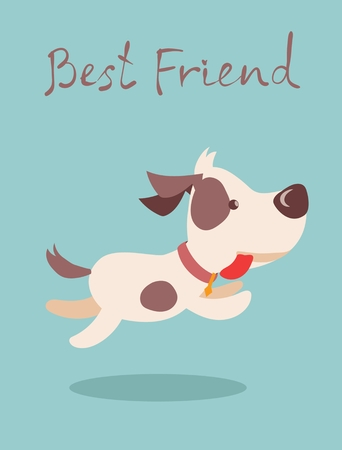 Vector illustration of cute and funny cartoon puppy - best friend