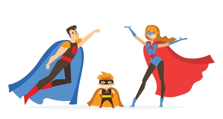 Super Family. Father, mother and son Superheroes in comics custumes