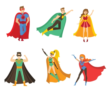 Vector illustration of a flat design of female and male superheroes Illustration