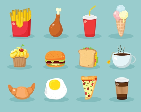Cartoon food vector illustrations- cupcake, croissant, cup of tea and coffee, scrambled eggs, hamburger and french fries Illustration