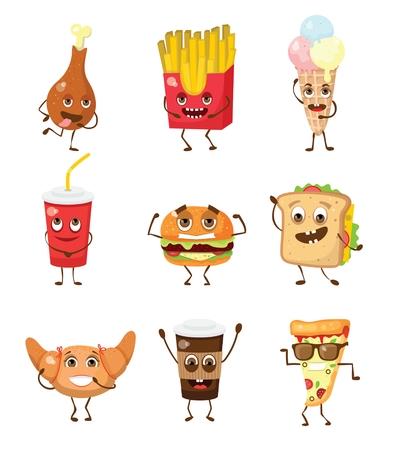 Cartoon funny food characters vector illustrations-