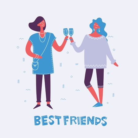 Vector illustration in a flat style of group of happy fashion