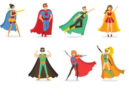 Vectorillustratie van een platte ontwerp van vrouwelijke en mannelijke superhelden Stock Illustratie