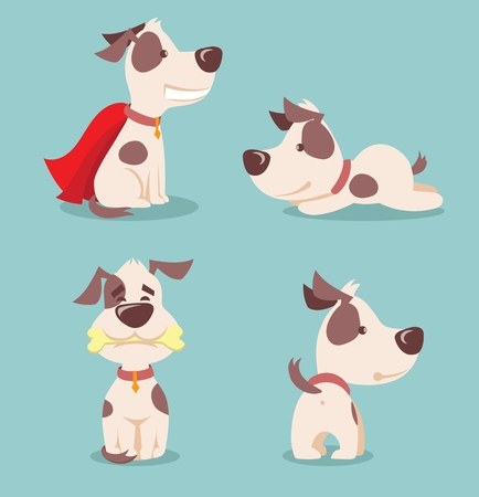 Vector illustration of four cute and funny cartoon puppies Vettoriali