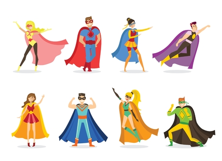 A Vector illustration of a flat design of female and male superheros Çizim