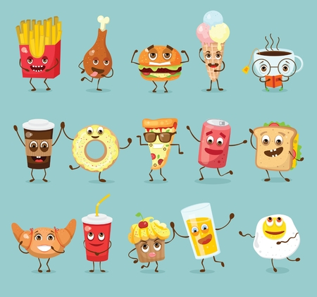 Cartoon funny food characters illustrations.