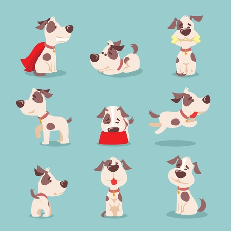 Illustration of cute and funny cartoon little dogs. Illustration