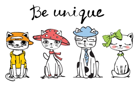 Vector Illustration with cute funny cats and hand drawn text Be unique