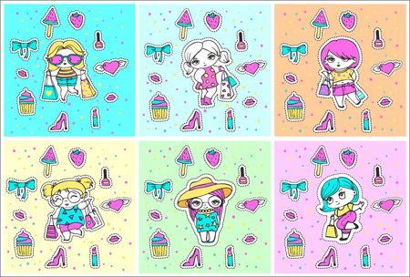 Vector cute stickers of fashion girls with packages and funny fashion things