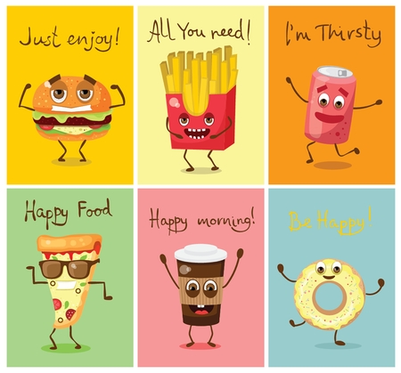 Cards with funny food characters vector illustrations- pizza, hamburger and french fries