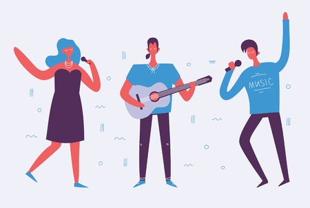 Vector illustration of singing and playing guitar.