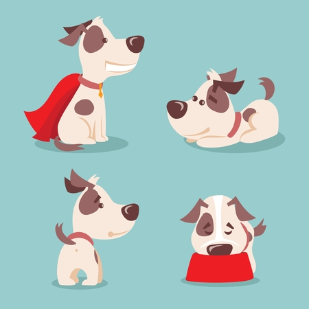 Vector illustration of four cute and funny cartoon puppies. Ilustração