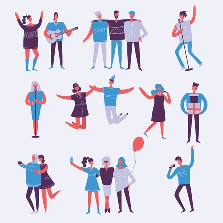 Vector set in a flat style of a group of happy people. Vettoriali