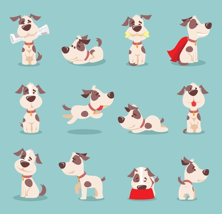 Vector illustration set of cute and funny cartoon little dogs-puppies.