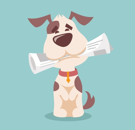 Vector illustration of cute and funny cartoon puppy dog.