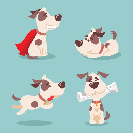 Vector illustration of four cute and funny cartoon puppies Illustration