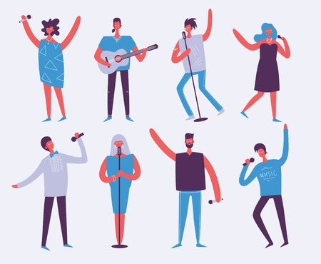 Vector background in a flat style of group of singing, playing guitar people.
