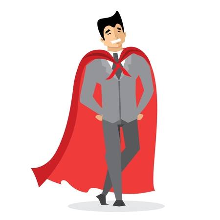 Superhero with the red cloak Ilustrace