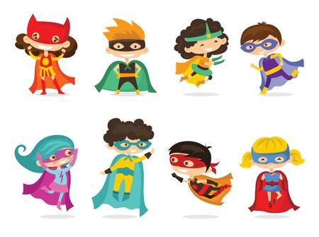 Cartoon vectorillustratie van kinderen superhelden dragen strips kostuums geïsoleerd op de witte achtergrond.