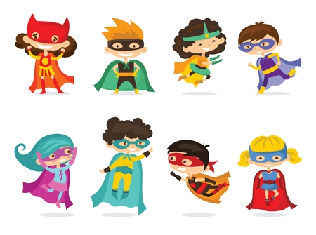 Cartoon vector illustration of kids superheroes wearing comics costumes isolated on the white background.