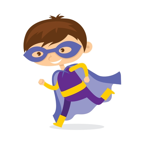 Cartoon vector illustration of Kid Superhero wearing comics costumes isolated on white background. Ilustração