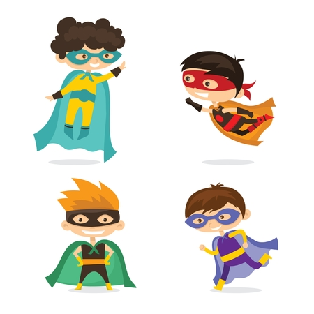 Cartoon vector illustration of kid superheroes wearing comics costumes isolated on white background.