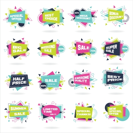 Big set of colorful abstract chat label. Vector discount and promotion banners.