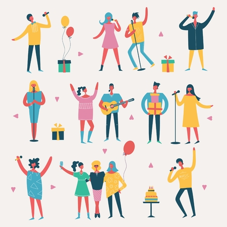 Vector illustration of a style of a group of happy people - best friends on the party