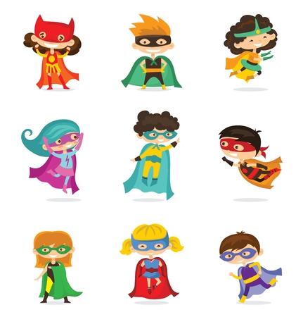 Cartoon vector illustration of Kids superheroes. Stock Vector - 94060208
