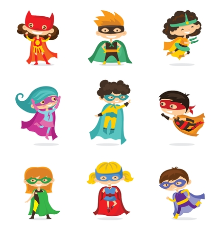 Cartoon vector illustration of Kids superheroes.