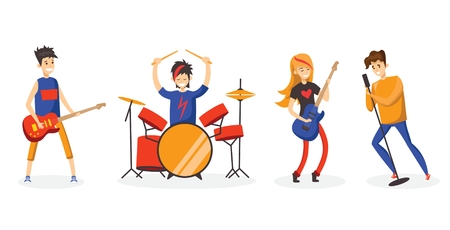 Cartoon music band vector illustration 向量圖像