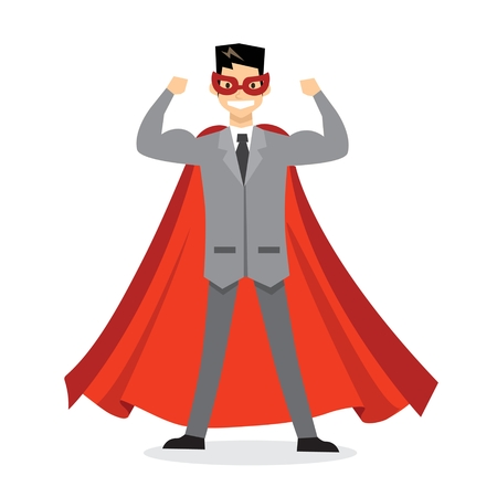 Vector illustrations in a flat design of a businessman. Superhero with the red cloak. Illustration