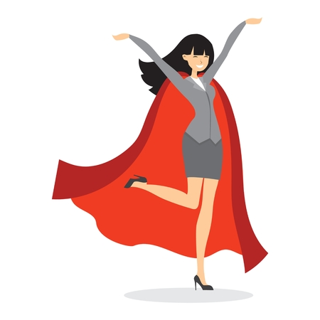 Vector illustrations in the flat design of set of businesswoman. Superhero with the red cloak.