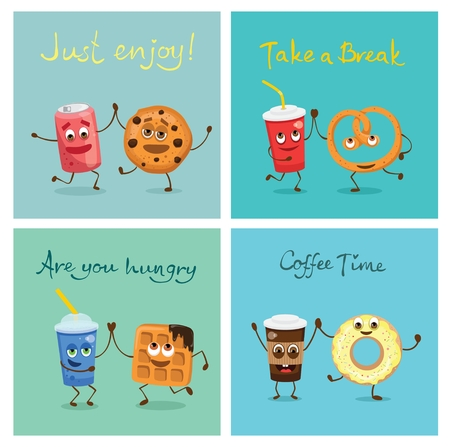 Cartoon cards with funny friends fast food - cookie and soda can, waffle and fresh, coffee and donut, pretzel and juice.