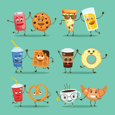 Cartoon funny friends fast food - coockie and can of soda
