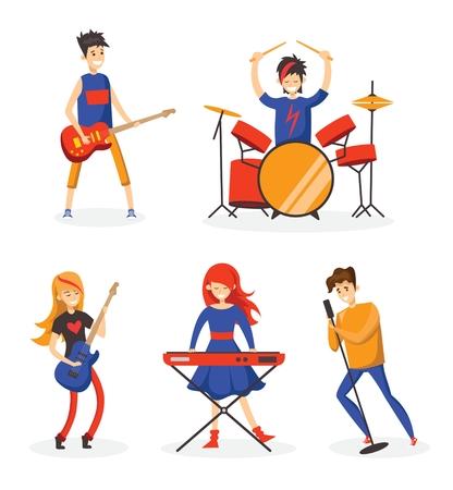 Cartoon music band vector illustration Illusztráció