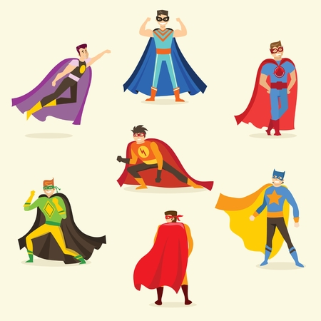 Flat design vector illustration of a male superheroes in a funny comics costume. Vectores