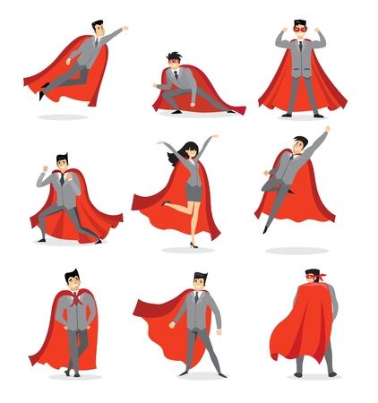 Vector illustrations in the flat design of set of businessmen and businesswomen Superheroes