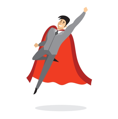Vector illustrations in a flat design of a businessman. Superhero with the red cloak. Ilustrace