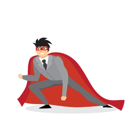 A Vector illustrations in a flat design of a businessman. Superhero with the red cloak.